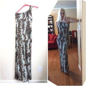 Cache Snakeskin Printed One Shoulder Maxi Dress